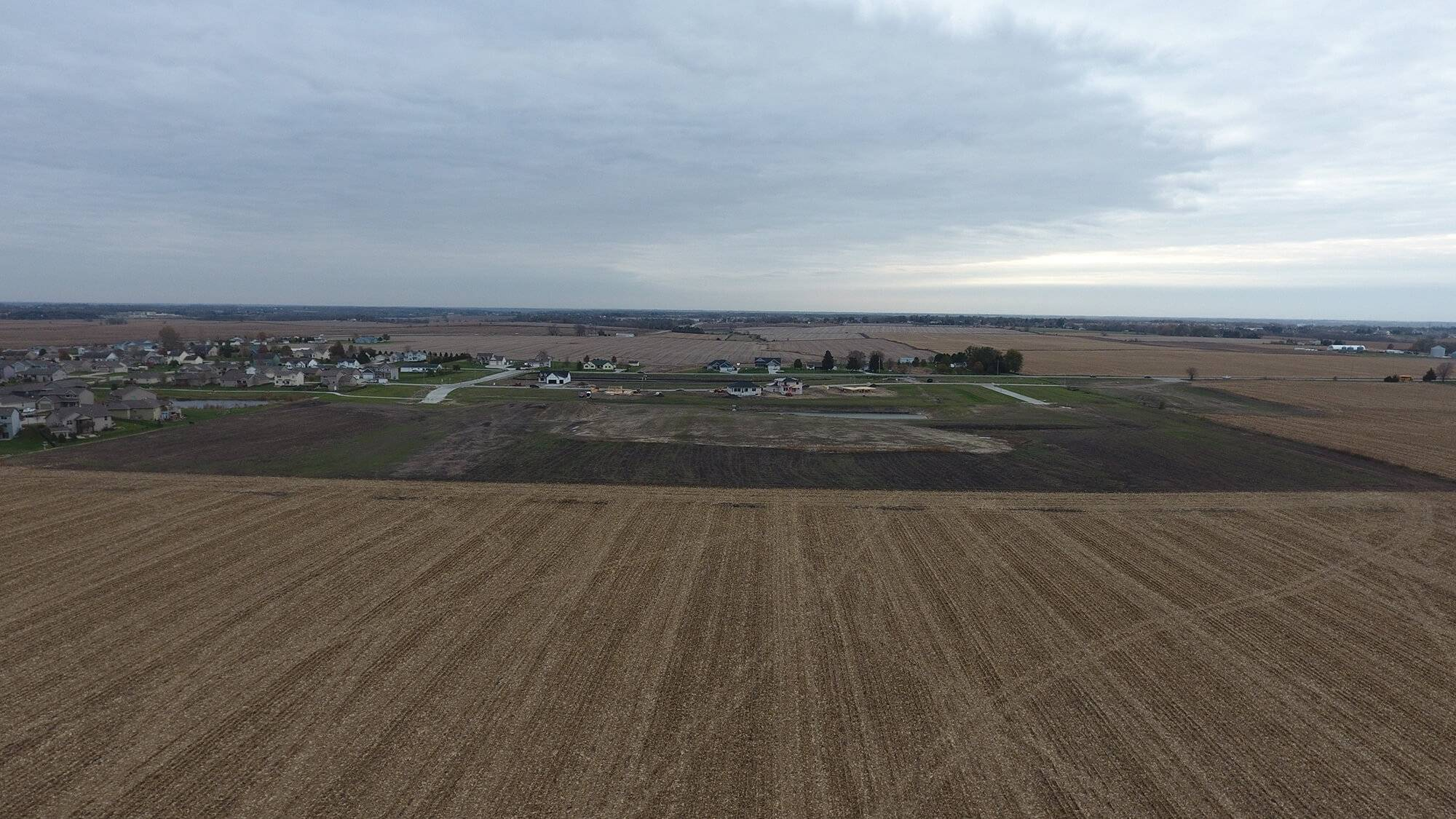 An aerial view of the Huber Grading project at Brookhaven Estates.