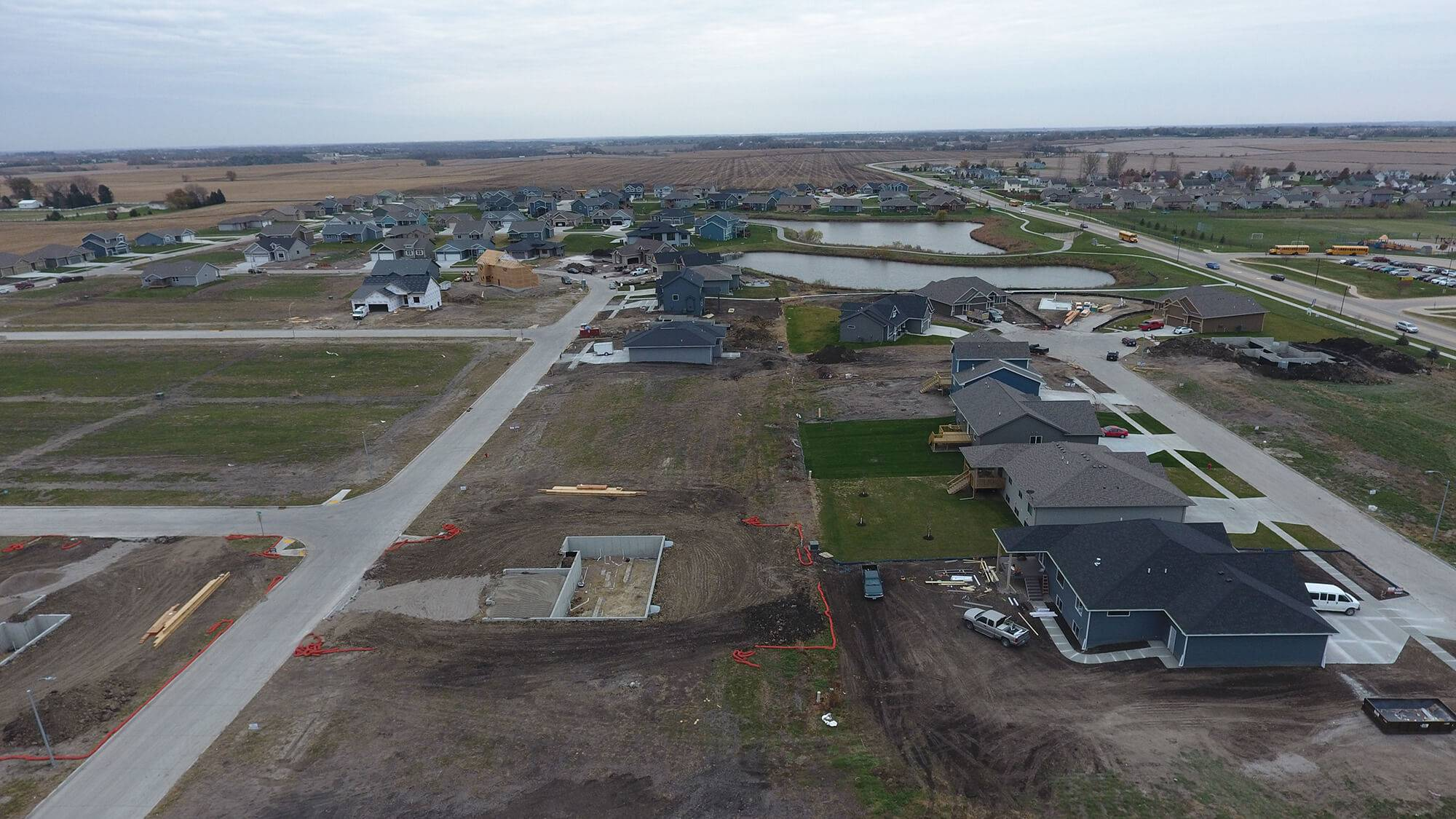 A birds-eye view of Fieldstone Estates, a Huber Grading project.