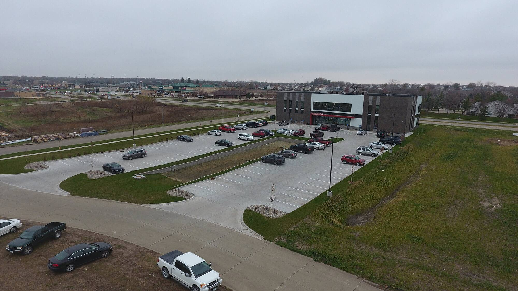 An aerial view of the grading project done at Fitness World in Ankeny, IA.