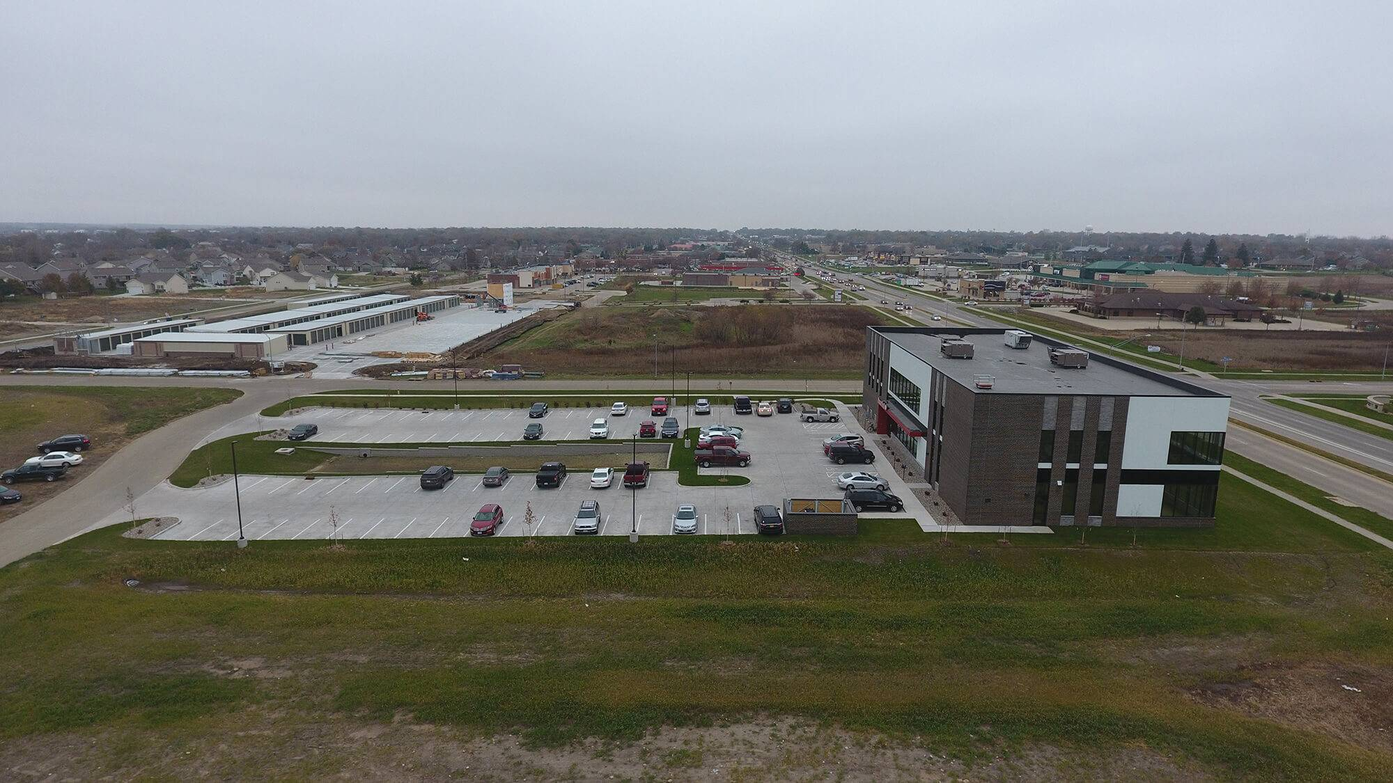 An aerial view of the grading done by Huber Grading at Fitness World in Ankeny, Iowa.