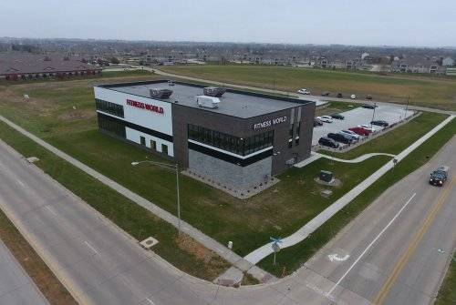 A birds-eye view of Fitness World in Ankeny, Iowa.